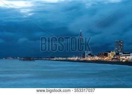 Brighton, England - September 12, 2019: Brighton Palace Pier And Seafront Illuminated At Night On Th