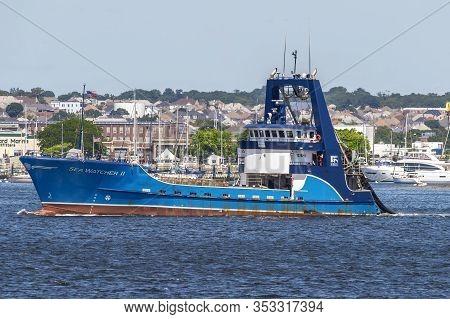 New Bedford, Massachusetts, Usa  - August 9, 2019: Commercial Fishing Boat Sea Watcher Ii Crossing N