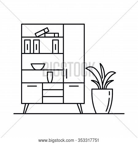 Interior With Cupboard, Books, Chest Of Drawers, . Vector Interior With Cupboard, Books, Chest Of Dr