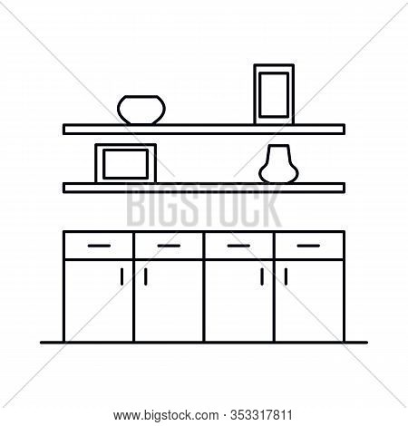 Interior With Kitchen, Shelves, Cupboard. Vector Interior With Kitchen, Shelves, Cupboard In Outline
