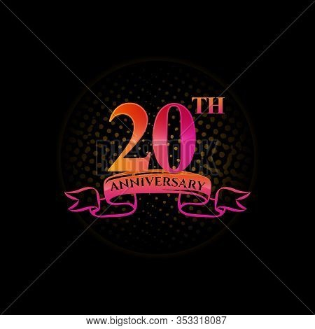 Celebrating The 20th Anniversary Logo, With Gold Rings And Gradation Ribbons Isolated On A Black Bac