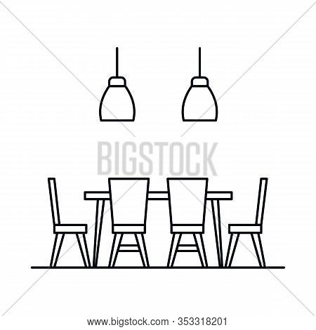 Interior With Table, Chair, Lamp, Dining Room. Vector Interior With Table, Chair, Lamp, Dining Room