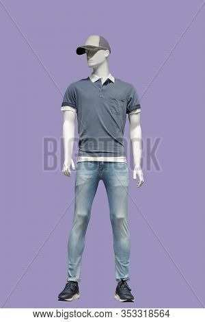 Full Length Male Mannequin Dressed In Casual Clothes, Isolated. No Brand Names Or Copyright Objects.