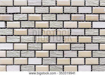 Ceramic Tile Mosaic Laid Out In The Form Of Brickwork. Rectangular Tile Mosaic.