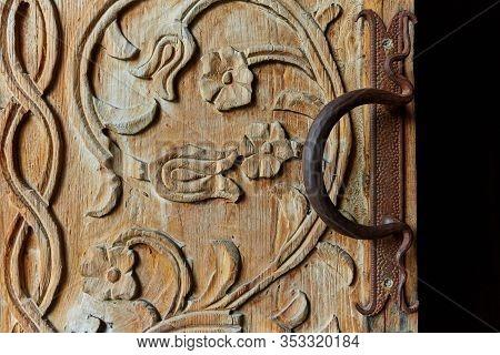 Old Wooden Door With A Old Door Knob For Print