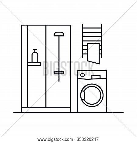 Interior With Washing Machine, Bathtub, Shower, Towel. Vector Interior With Washing Machine, Bathtub