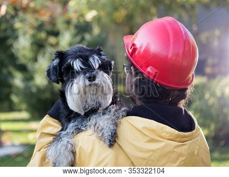 Young Woman In Raincoat And With Helmet Holding Dog. Animal Rescue Concept