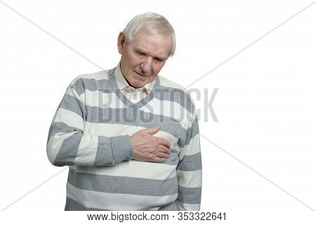 Old Man With Sudden Heart Attack. Unhealthy Caucasian Senior In White Isolated Background.