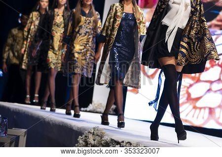 Sofia, Bulgaria - 18 September, 2019: Female Models Walk The Runway In Beautiful Designer Dresses Du