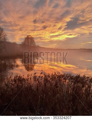 Sunset Over The Lake, South Bohemia, Czech Republic
