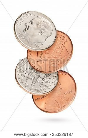 Flying Coin Stack With Penny And Dime Us Cents Isolated In White Background