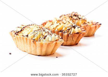 Three coffee cakes isolated