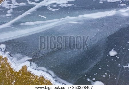 Aerial View Of Glacier. Ice Lake In Lofoten Islands, Nordland County, Norway, Europe. White Snowy Mo