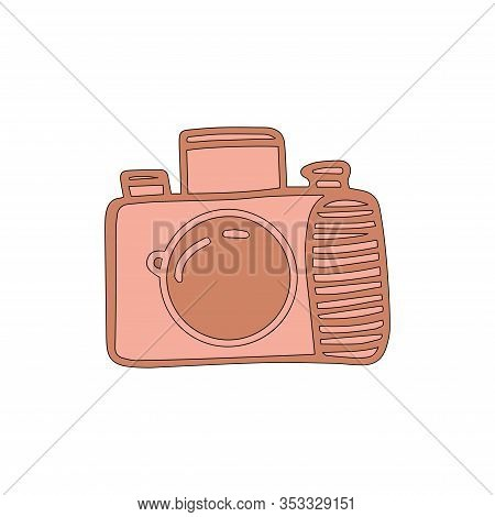 Reflex Camera In Cartoon Style Isolated On White Background. Sign Icon. Vector Simple Illustration.