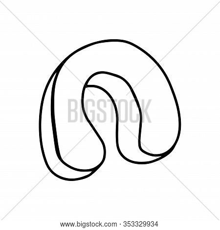 Travel Neck Pillow In Doodle Style Isolated On White Background. Vertebrae Care. Soft Cushion For Be