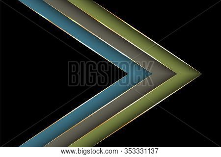 Polygonal Arrow With Gold Triangle Edge Lines Banner Vector Design. Stylish Banner Background Templa