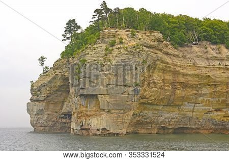 Sandstone Cliffs Along The Lakeshore In Pictured Rocks National Lakeshore In Northern Michigan