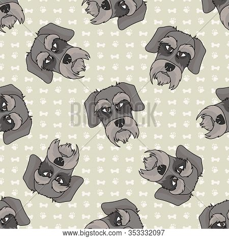 Hand Drawn Cute Schnauzer Face Breed Dog Seamless Vector Pattern. Purebred Pedigree Puppy Domestic D