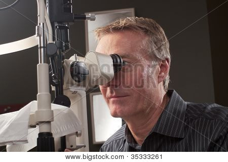 Optometrist Using Bio Microscope