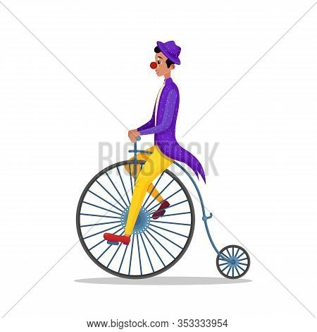 Man Wearing Clown Costume With Red Nose Riding Penny Farthing Retro Bicycle Isolated On White Backgr
