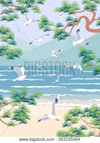 Simple Natural Background With Sea Coast Scenery. Serenity Landscape With Blue Water, Small Waves, M