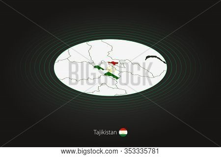 Tajikistan Map In Dark Color, Oval Map With Neighboring Countries. Vector Map And Flag Of Tajikistan
