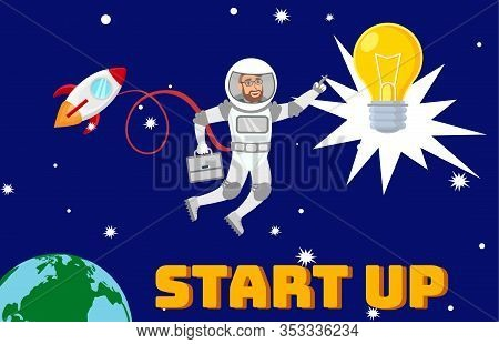 Business Development, Startup Launch Illustration. Businessman In Pressure Suit In Open Space Cartoo