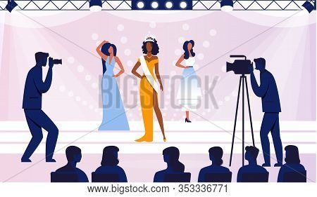 Beauty Contest Final Flat Vector Illustration. Elegant Contestants, Models In Fashionable Dresses Ca