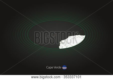 Cape Verde Map In Dark Color, Oval Map With Neighboring Countries. Vector Map And Flag Of Cape Verde
