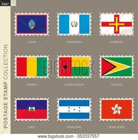 Postage Stamp With Flag, Collection Of 9 Flag: Guam, Guatemala, Guernsey, Guinea, Guinea-bissau, Guy