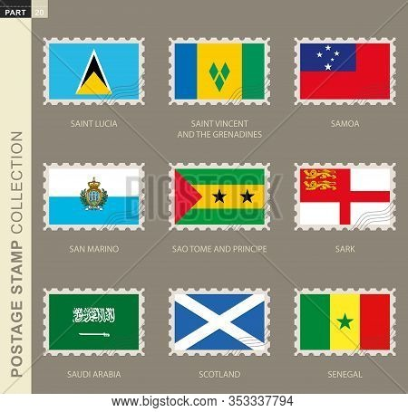Postage Stamp With Flag, Collection Of 9 Flag: Saint Lucia, Saint Vincent And The Grenadines, Samoa,