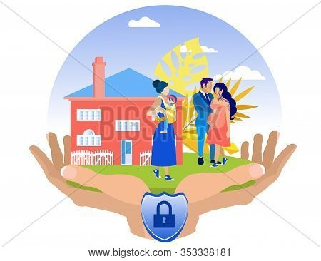 Woman With Baby In Sling And Man With Pregnant Woman On Red House Background. Insurance Policy. Vect