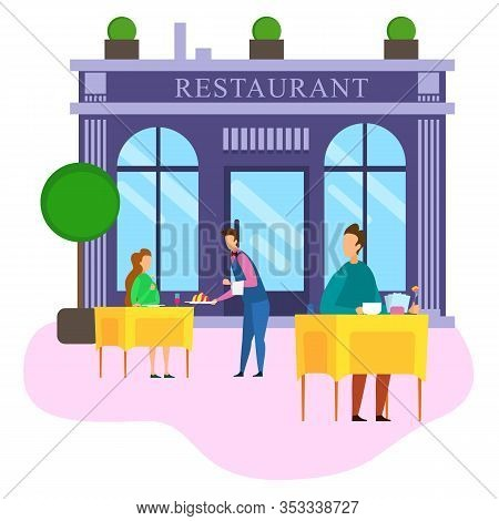 Waiter Serve Food To Cafe Customers Summer Terrace Table Outdoor Vector Illustration. Restaurant Bui