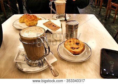 Porto, Portugal- January 6, 2020: Tasty Portuguese Breakfast In The Beautiful Vintage Coffee Shop Ca