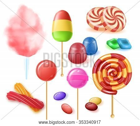 Types Colorful Fruit Candies On White Background. Lollipops Made From Fruit And Berry Puree With Sug