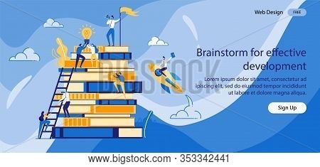 Inscription Brainstorm For Effective Development. Small People Climb Stack Books, Overcoming An Obst