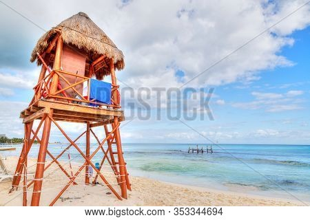 Lifeguard Tower On The Tropical Beaches Of Riviera Maya Near Cancun, Mexico. Concept Of Summer Vacat