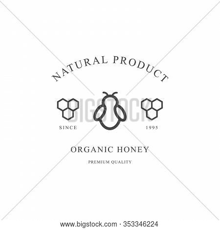 Outline Honey Vector Black Icon Isolated On White Background. Honeybee And Honeycomb.