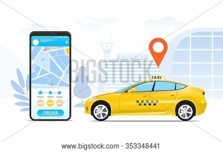 Ordering A Taxi Online Using A Hailing App Depicted On A Mobile Phone Screen With A City Map Colored
