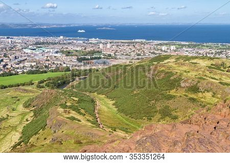 Edinburgh Scotland  - September 13 2019: Amazing Views Of The City And Landscape From The Hills In H