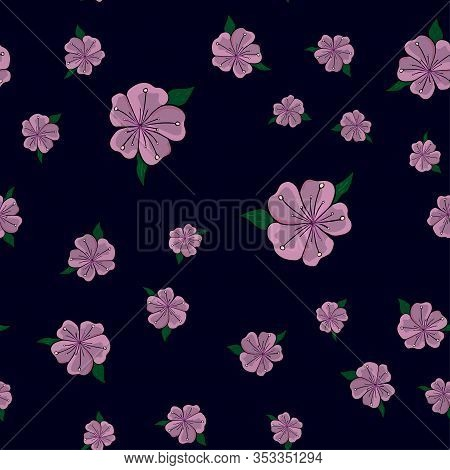 Cute Pattern In A Small Flower. Pink Sakura Flowers, Blooming Japanese Cherry. The Symbol Of Spring.