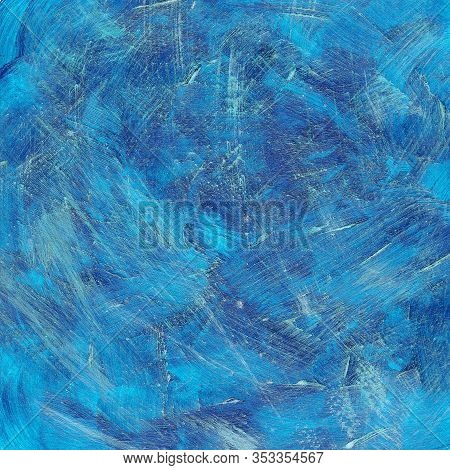 Square Blue Abstract Watercolor Dry Brush Textured Background.