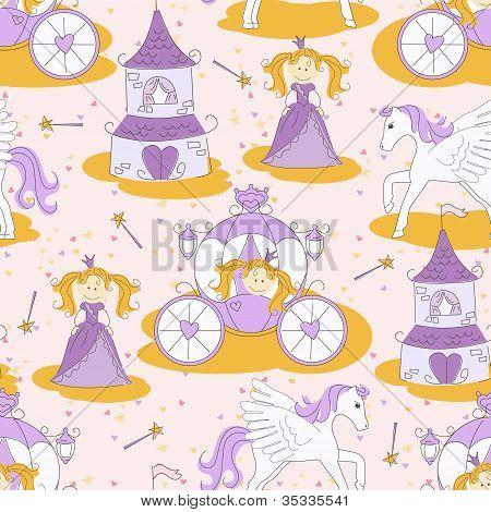 Seamless pattern with a princess