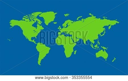 Vector Map Of An Isolated World With A Blue Background. Vector Map Of Flat Earth. Vector Illustratio