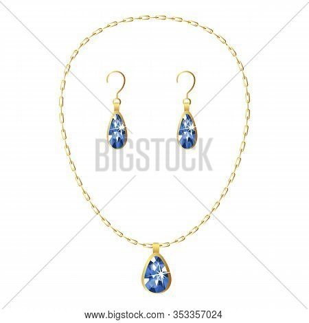 Gemstone Necklace Icon. Cartoon Of Gemstone Necklace Vector Icon For Web Design Isolated On White Ba