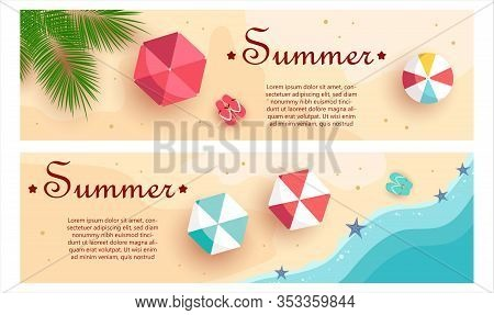 Vector summer background, beach with beach umbrellas, waves vector. Hello Summer, summer time, summer day, summer day background, summer banners, summer flyer, summer design, summer with people in the pool, vector illustration.