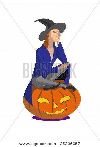 Witch sitting on a pumpkin on a white background