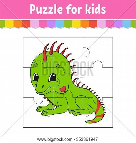 Puzzle Game For Kids. Green Iguana. Education Worksheet. Color Activity Page. Riddle For Preschool.