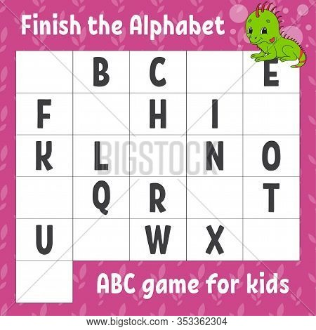 Finish The Alphabet. Abc Game For Kids. Education Developing Worksheet. Green Iguana. Learning Game