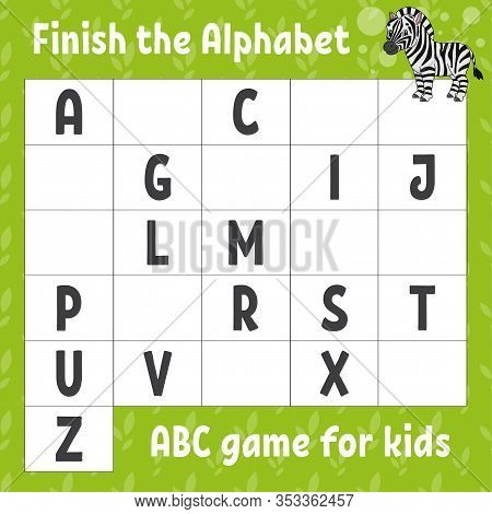Finish The Alphabet. Abc Game For Kids. Education Developing Worksheet. Cute Zebra. Learning Game Fo
